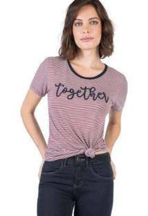 Blusa Estampada Taco - Feminino-Vinho