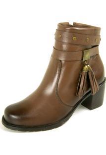 Bota Dhatz Ankle Boot Com Fivela Não Possui Cadarço Tabaco
