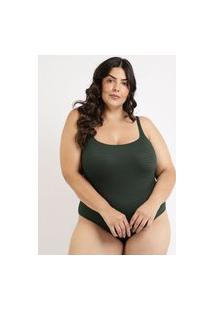 Maiô Body Plus Size Texturizado Com Bojo E Proteção Uv50+ Verde Escuro