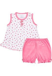 Baby Doll Em Malha Flowers - Dedeka Ddk17073/E132 Pijama Ribana Floral Rosa-Gg