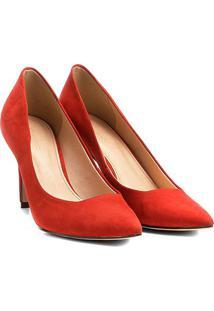 Scarpin Couro Shoestock Salto Alto Básico - Feminino-Laranja Escuro