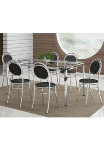 Mesa 328 Vidro Incolor Cromada Com 6 Cadeiras 190 Fantasia Preto Carraro