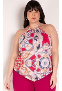 Blusa Frente Única Lenço Bege Plus Size
