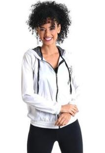 Jaqueta Corta Vento Com Capuz - Feminina - Feminino-Branco