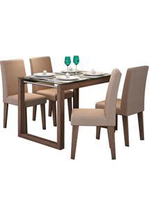 Conjunto De Mesa Anita Para Sala De Jantar Com E 4 Cadeiras Milena -Cimol - Marrocos / Pluma