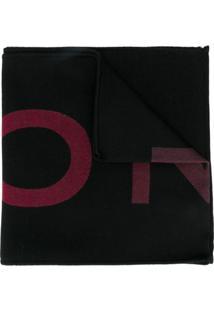 Givenchy Cachecol De Tricô Com Logo E Listras - Preto