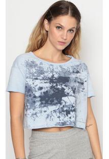 Blusa Cropped Em Moletinho - Azul Clarocalvin Klein