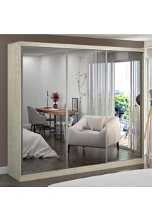 Guarda-Roupa Casal 3 Portas Com 3 Espelhos 100% Mdf 774G4E3 Marfim Areia - Foscarini