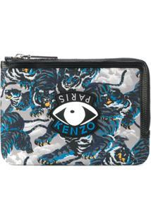 Kenzo Porta Moedas Com Estampa Eye And Tiger - Preto