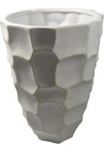 Vaso 23X16Cm De Cerâmica Branca- Gs Ashley
