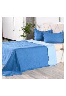 Kit 1 Cobre Leito + Porta Travesseiros Casal Rolinho Liso Blue Classe - Bene Casa