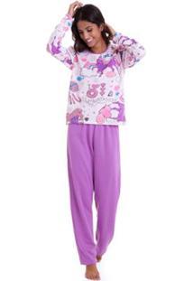 Pijama Longo De Moletinho Luna Cuore Feminino - Feminino-Lilás
