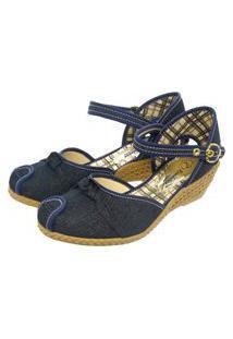 Sandália Romântica Calçados Anabela Xadrez Jeans
