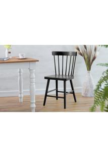Cadeira Preta De Madeira Maciça Folk 45X46X83Cm