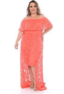 Vestido Plus Size Cosma Mullet Rendado Coral