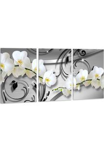 Quadro Oppen House 60X120Cm Orquídea Silver Luxury Flores Brancas