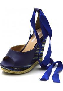 Sandália Anabela Flor Da Pele Azul Marinho
