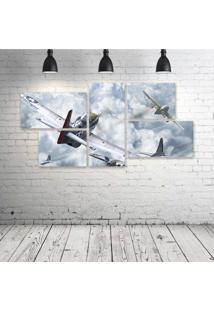 Quadro Decorativo - World-Of-Warplanes-American-Planes - Composto De 5 Quadros - Multicolorido - Dafiti