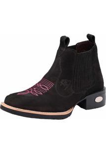 Bota Botina Em Couro Bico Quadrado Snap Shoes Preta