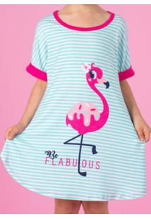 Camisola Flamingo - Verde Água & Rosapuket