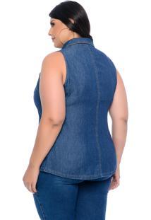 Blusa Jeans Plus Size Barrieli Camisete Cavada Botões E Gola