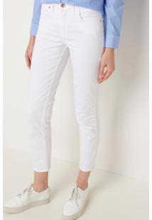 Calça Le Lis Blanc Paula Color Sarja Branco Feminina (Branco, 46)