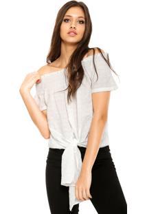Blusa Facinelli By Mooncity Ombro-A-Ombro Textura Branca