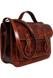 Bolsa Line Store Leather Satchel Pequena Couro Conhaque Vintage. - Kanui