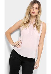 Camisa Regata We Are The Basic Bolso Feminina - Feminino-Rosa Claro