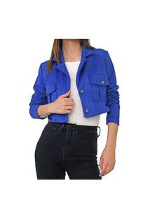 Jaqueta Cropped Dimy Bolsos Azul