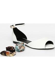 Sandália Rasteira Com Vazado & Amarração - Branca - Lança Perfume