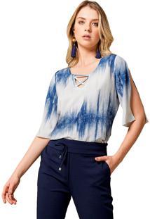 Blusa Mx Fashion Tie Dye Tiene Azul