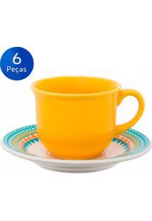 Conjunto De Xícaras Para Café 75Ml Com Pires 6 Peças Floreal Bilro - Oxford Multicolorido