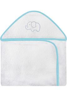 Toalha De Banho C/ Capuz Bordado Laura Baby Elefante Chevron Tiffany