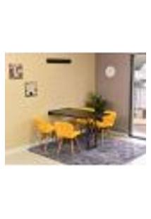 Conjunto De Mesa Dobrável Retrátil 120 X 75 Preta + 4 Cadeiras Slim - Amarela