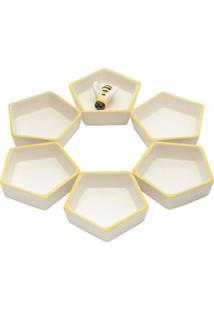 Conjunto De Petisqueiras Abelha- Branco & Amarelo- 6Lyor