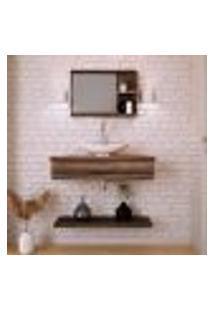 Conjunto Para Banheiro Bancada Com Cuba L45 Canoa, Prateleira E Espelheira City 806 Nogal