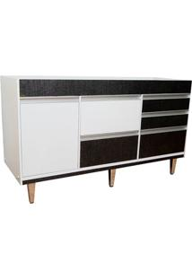 Gabinete Para Cozinha Em Mdf Viseu 86,5X150Cm Branco E Cromo