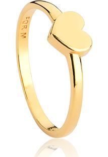 Anel De Prata 925 Banho Dourado Coração No Aro-For Me