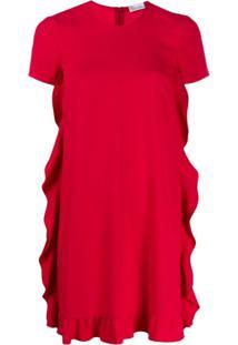 Redvalentino Vestido Reto Com Babados - Vermelho