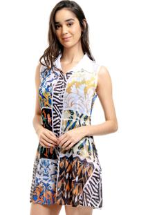 Vestido Chemise 101 Resort Wear Evasê Crepe Babados Renda Pala Patchwork Preto
