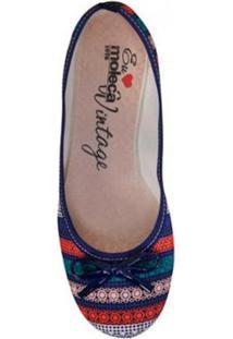 Sapatilha Moleca Multicolor Feminina - Feminino-Azul+Vermelho