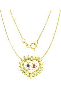 Gargantilha Prata Mil Menino E Menina C/ Zircã´Nia Folheado Em Ouro Dourado - Dourado - Feminino - Dafiti