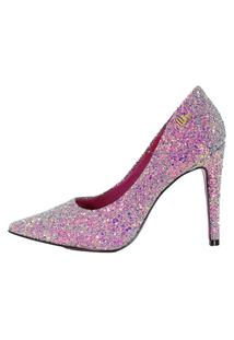 Scarpin Week Shoes Salto Alto Glitter Lilás.