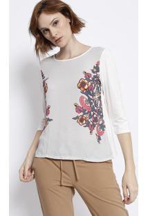 Blusa Floral Com Tiras Vazadas - Branca & Bege - Malmalwee