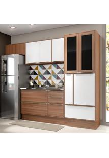 Cozinha Compacta 10 Portas 4 Gavetas 5453R Nogueira/Branco - Multimóveis