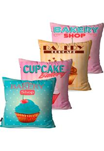 Kit Com 4 Capas Para Almofadas Decorativas Cupcake Bakery 45X45Cm