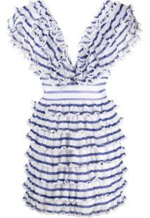 Philosophy Di Lorenzo Serafini Vestido Listrado Com Babado - Azul