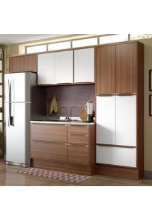 Cozinha Compacta Calábria 11 Portas 3 Gavetas Nogueira/Branco - Multimóveis