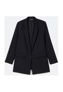 Blazer Alongado Com Bolsos Com Lapela E Botão No Centro | Cortelle | Preto | 38